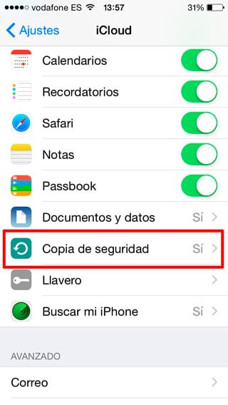 Copia de seguridad iPhone