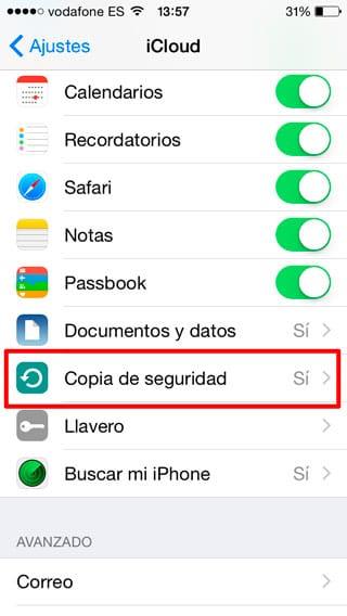 Copia de seguridad iPhone