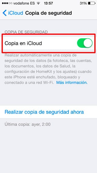 Ajustes de backup iCloud