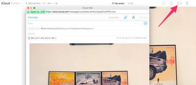 Enviar fotos email iCloud