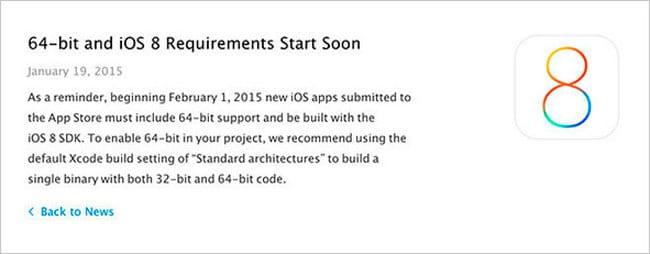 Notificación Apple a desarrolladores de apps