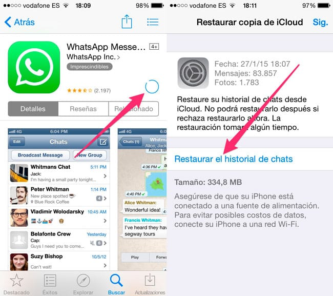 Restaurar Backup de WhatsApp en iPhone