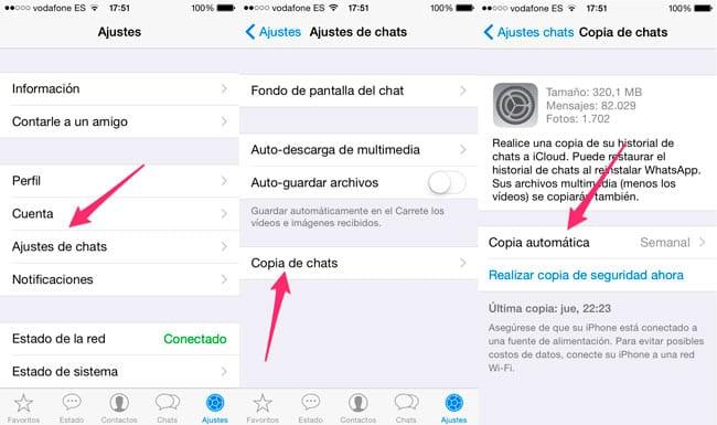 Hacer copias de seguridad WhatsApp