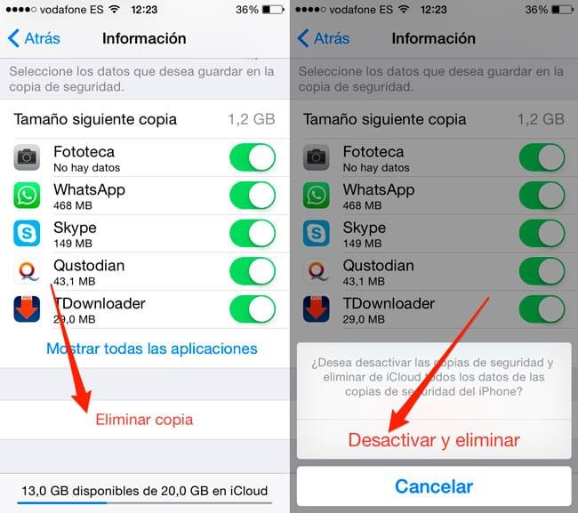 Desactivar y eliminar copia de seguridad iCloud
