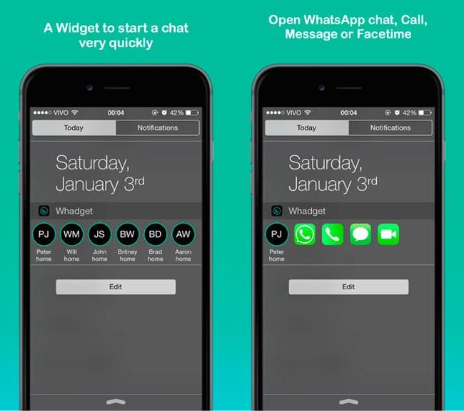 Whadget, widget acceso directos contactos