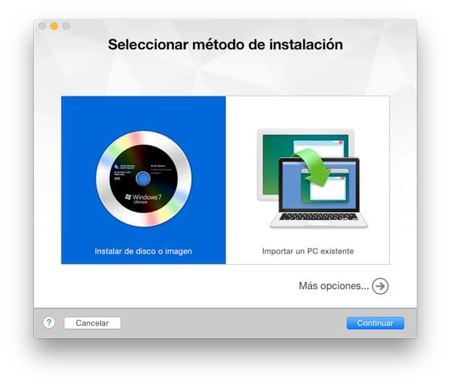 Seleccionar método instalación OS X