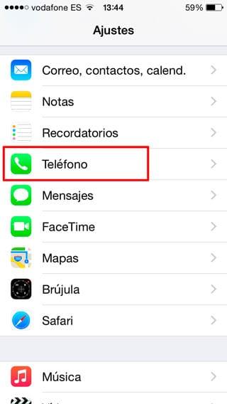 Ajustes de Teléfono iPhone