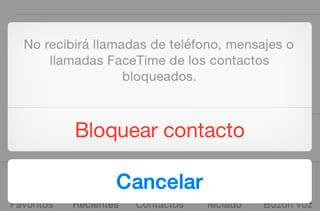 Confirmar bloqueo contacto iPhone