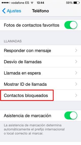 Contactos Bloqueados iPhone