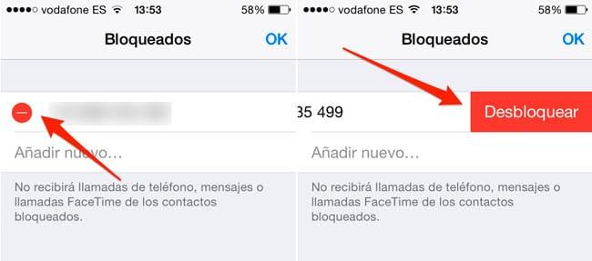 Desbloquear contacto iPhone