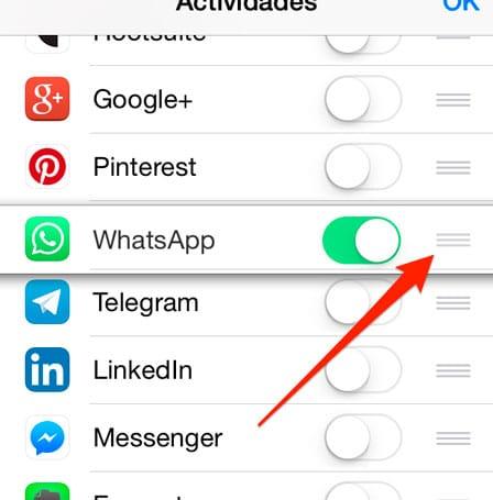 Mover App en la opción compartir de iOS 8