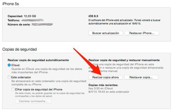 Hacer Copia Seguridad iPhone para Quitar Jailbreak