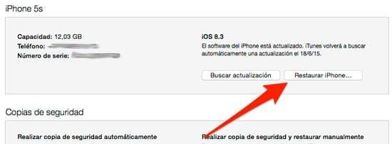 Restaurar iPhone para eliminar Jailbreak