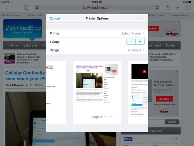 Ventana de Impresión en iOS 9 Beta 1