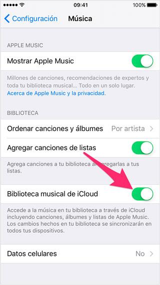 Activar la biblioteca musica de iOS