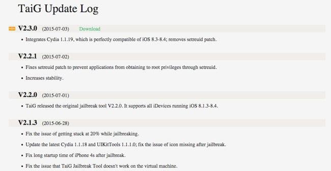 Actualización Jailbreak Taig 2.3.0