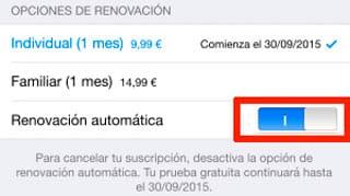 quitar renovación automática Apple Music