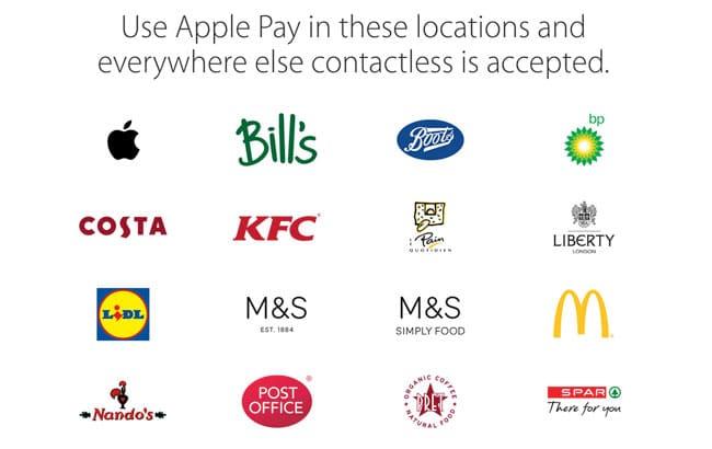 Establecimientos Apple Pay Reino Unido