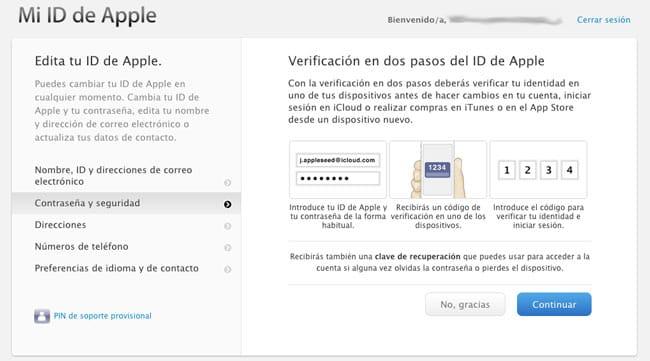 Avisos activación verificación en dos pasos Apple ID