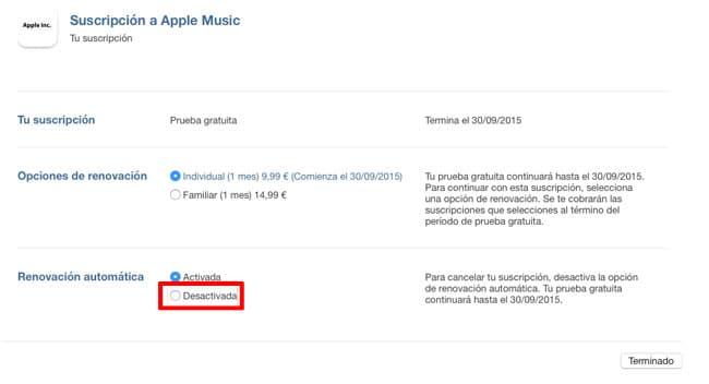 Cancelar suscripción Apple Music