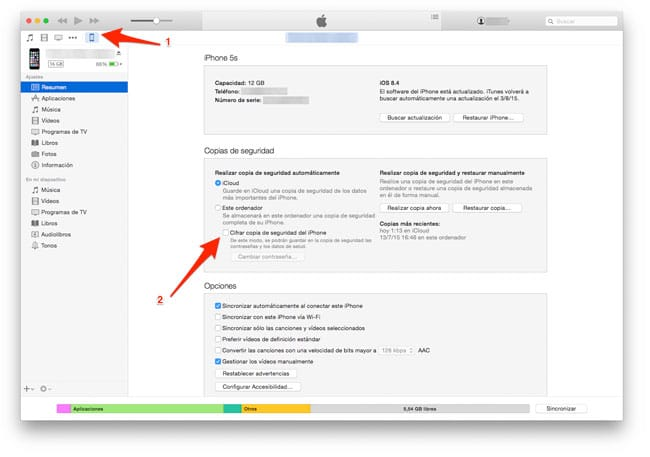 Cifrar copias de seguridad iTunes