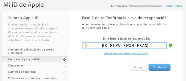 Clave de recuperación Apple ID