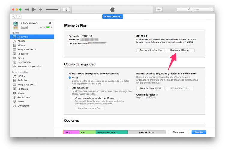 Cómo restaurar iPhone desde iTunes