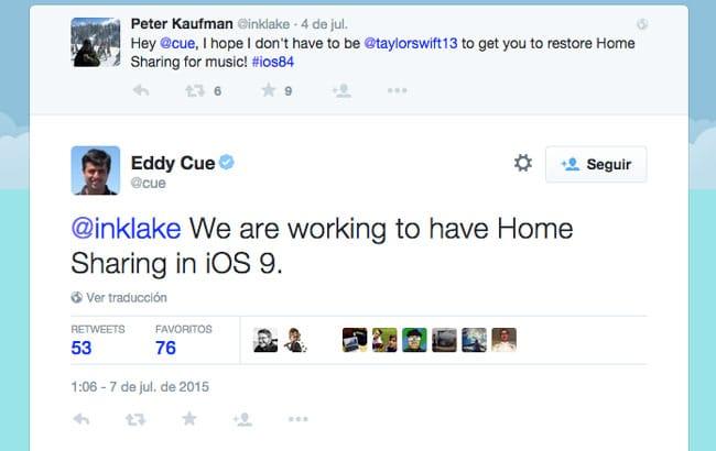 Compartir en casa volverá en iOS 9