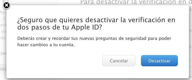 Confirmación desactivar verificación en dos pasos Apple ID