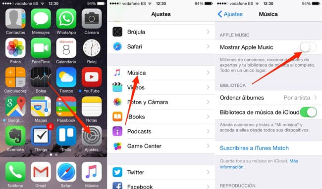 Desactivar Apple Music en iPhone, iPad y iPod Touch