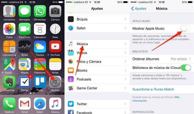 Desactivar Apple Music en iPhone, iPad y iPod Touch