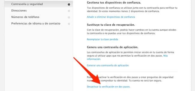 Desactivar la verificación en dos pasos de nuestro Apple ID