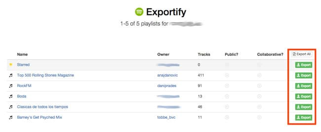 Exportar listas de reproducción de Spotify con Exportify
