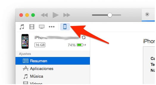 Ficha dispositivo iTunes