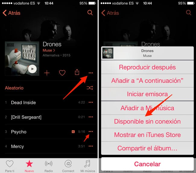 Guardar música para reproducir sin conexión en Apple Music