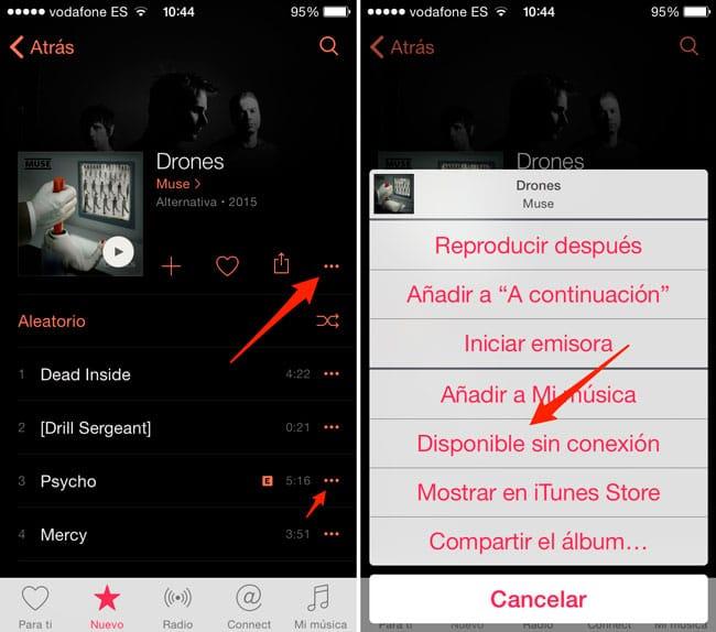 Guardar música para reproducir sin conexión en Apple Music