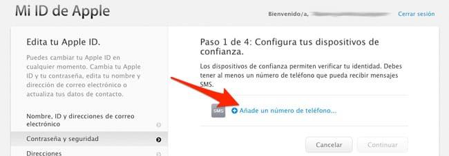Introducir teléfono Apple ID