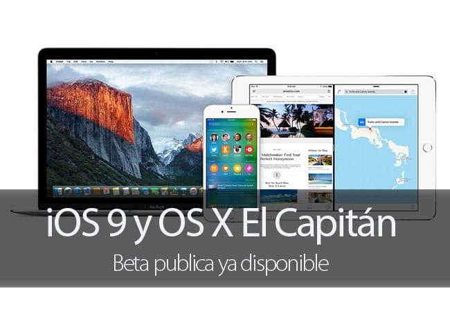 OS X El Capitán y iOS 9 disponibles en beta pública
