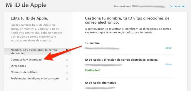 Opción seguridad de Apple ID