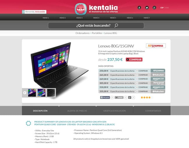 Ficha producto Kentalia
