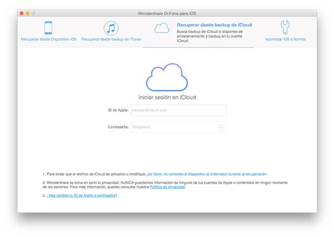 Recuperar archivos de backups de iCloud