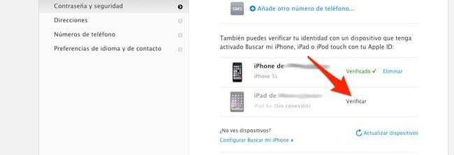 Verificar dispositivo confianza en Apple ID
