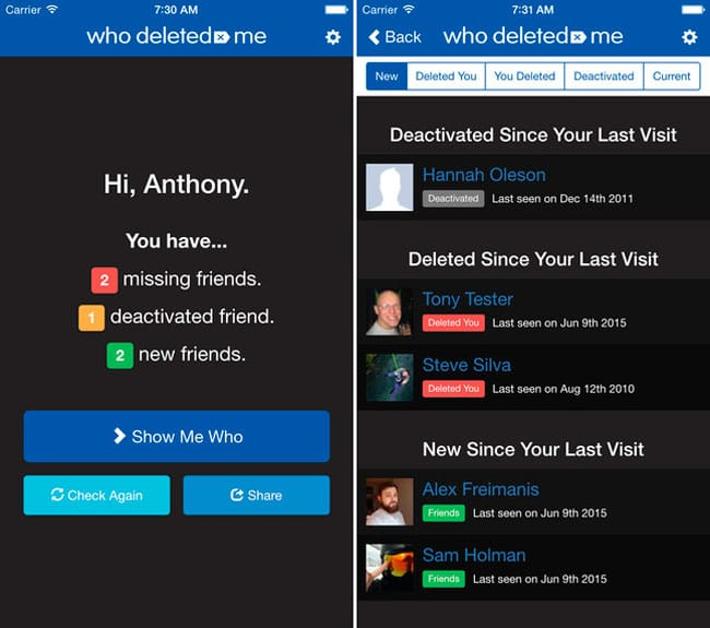 Who Deleted Me on Facebook para iPhone
