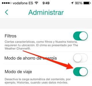 Ahorrar datos móviles en Snapchat