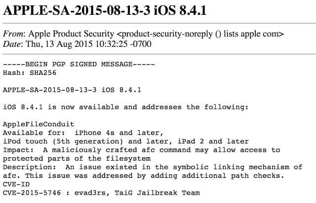 Apple mejora la seguridad con iOS 8.4.1