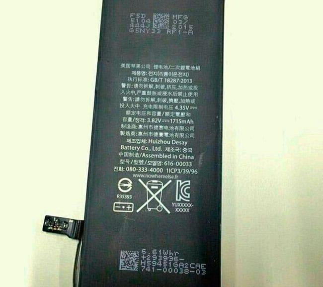 Batería filtrada iPhone 6s o iPhone 6c