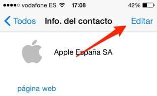 Botón para editar un contacto en WhatsApp