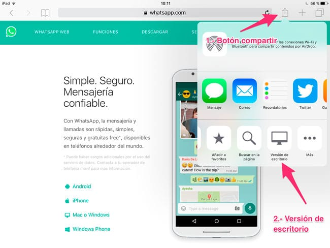 Cargar WhatsApp Web en Safari para iPad
