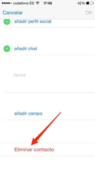 Eliminar contacto WhatsApp