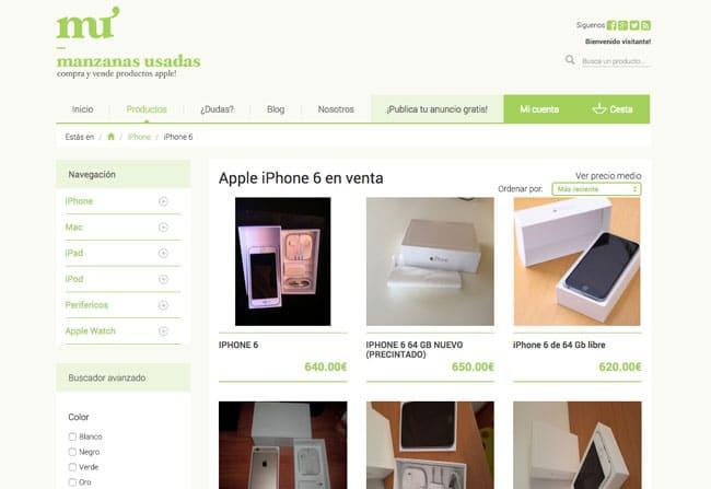 Manzanas Usadas catálogo de iPhone 6 Plus de segunda mano